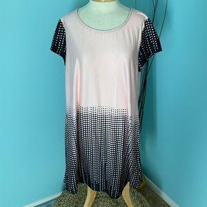 Reborn 1X Black & Mauve Dot Print Dress New